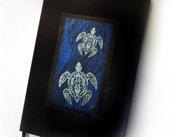 Blue Tribal Turtles Journal, Hawaiian Polynesian Style Art, Black Leather Writing Notebook, Original Design