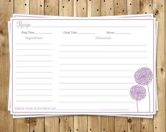 Bridal Shower Recipe Cards, Purple, Dandelions, Flowers, Wedding, Set of 24 Printed Cards, FREE Shipping, MOFLP, Modern Floral Purple