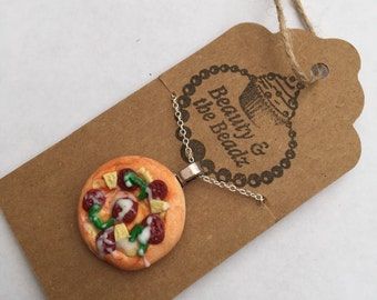 Funky polymer clay Pepperoni pizza neclace