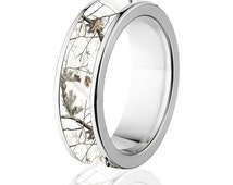 Licensed RealTree AP White Camouflage Titanium Ring, Snow Camo Ring: 7F-RT-Snow