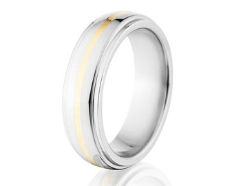 Cobalt Wedding Band w/ 14k Gold Inlay Wedding Band USA Made Cobalt Ring Mens Ring - 6HRRC11G-P-14k-Gold