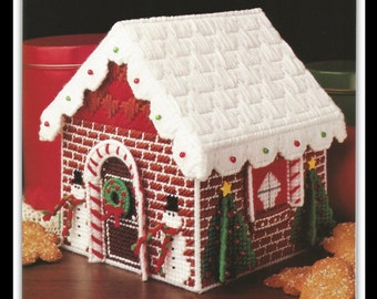 Plastic Canvas Gingerbread House Pattern - PDF 09241921 - Roof Is Removable - Great Candy Holder