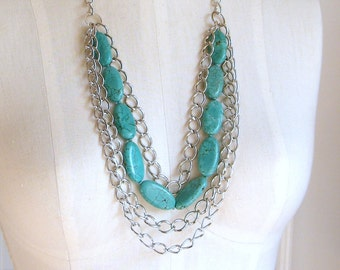 Turquoise Necklace, Layered Necklace, Statement Necklace, Beaded Necklace