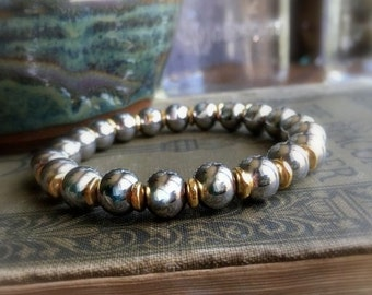 Silver and Gold Bracelet, Stainless Steel Bracelet, Stretch Bracelet, Stainless Steel and Gold