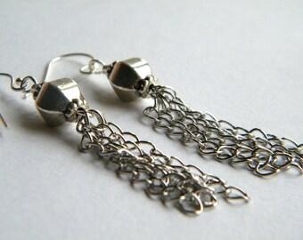Tassel Earrings, Dangle Earring, Silver Tassel Earrings, Long Earrings, Drop Earrings