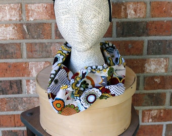 Red Yellow Flower Power Floral Cotton Infinity Scarf Neck Cowl Ready to Ship Gift Under 15