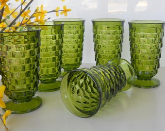 Vintage Avocado Green Whitehall Footed Tumblers (Coolers), Set of Six
