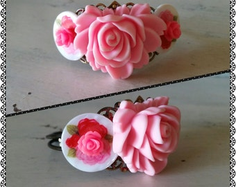 Shabby Chic Rose Cottage Cabochon Cuff