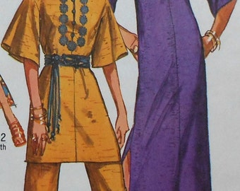 Vintage Caftan, Tunic, and Pants Sewing Pattern UNCUT Simplicity 9101 Size 10