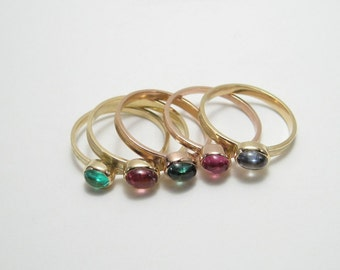 Pink Tourmaline 18k Gold Skinny Ring
