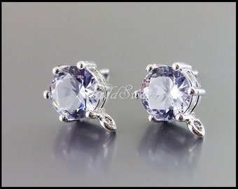 2 lavender & silver 7mm faceted round glass stone crystal post earrings, easy DIY earring supplies 5139R-LA