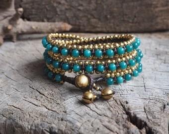 Blue Agate Wrap Brass Bracelet