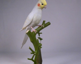 "12-3/4"" Lutino Cockatiel Hand Carved Wooden Bird"