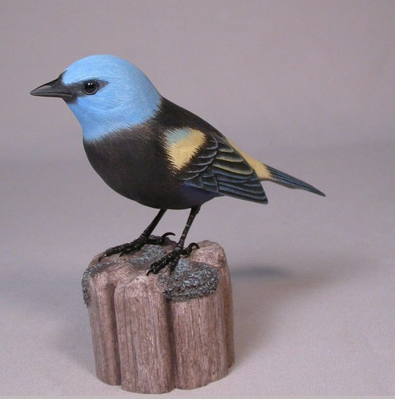 Blue necked tanager hand carved wooden bird carving