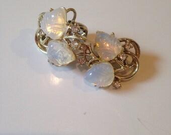 Coro Luminescent White Acorn Earrings Rhinestones Flower Buds