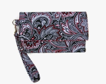 Black Paisley Phone Wristlet Wallet - Cushioned Trifold Wallet - Black iPhone Wristlet -  Smartphone Pouch Wallet - Phone Clutch