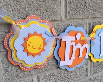 You Are My Sunshine Party Banner Highchair Baby Shower Blue Yellow Orange Polka Dot I'm 1 High Chair Age Boy Decorations
