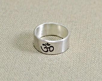Om Ring in Custom Sterling Silver 925 for Yoga Inspiration  - RG779