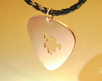 Puzzling Copper Guitar Pick Pendant Necklace Handmade with Intriguing Puzzle Piece Cut Out - NL304