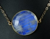 LARGE Rainbow Moonstone Necklace, Faceted Rainbow Moonstone Pendant, Vibrant Cobalt Blue Fire, Gold Bezel and Adjustable Length Chain