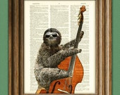 Jimmy Slothton is in the pocket Bass Playing Sloth dictionary page book art print