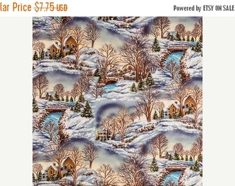 Gorgeous Country Winter Scene fabric--Nice Holiday Decor Fabric--Hard Find -- 40-70% off Patterns n Books SALE