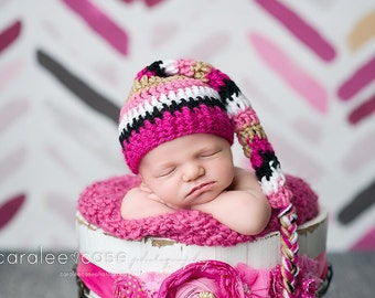 NEW ITEM! Elf Hat in Pink, Black, and Gold with Braided Tail