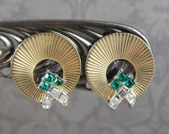 Retro Vintage Boucher Designer Gold Round Emerald Green and Clear Rhinestone Disc Clip On Earrings