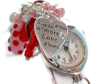Purse Charm Watch/Red and Pink/Watch Charm Zipper Pull/ Purse Watch Dangle/ Lampwork Bead Watch Dangle/ Watch/ Belt Loop Watch