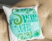 """quote pillow cover """"simply become who you are"""""""