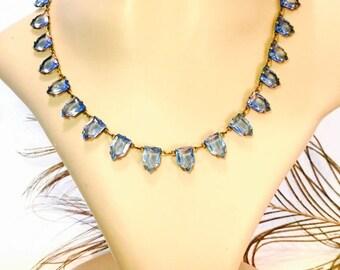 CIJ Christmas July SALE Beautiful Art Deco Blue Open back Geometric Pyramid Czech Crystal Vintage Necklace Art Deco Jewelry