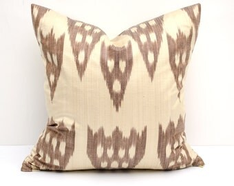 15x15 colorful ikat pillow cover, brown, cream, cushion case, ikat, ikats, pillows, sofa pillow, interior cushions, ikat design