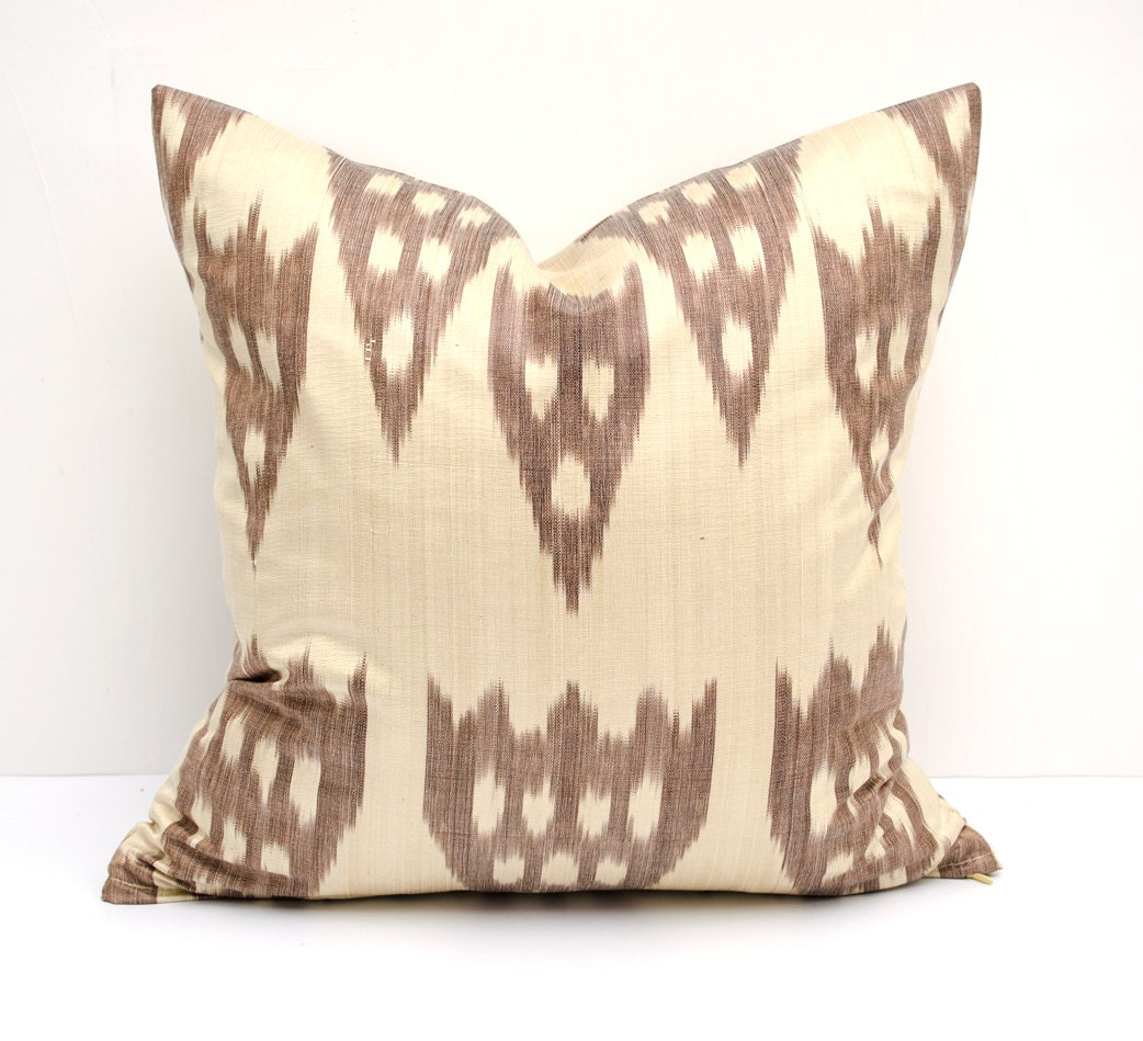 15x15 colorful ikat pillow cover brown cream cushion case