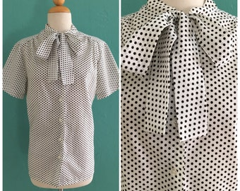 80's tie neck blouse //  black and white polka dot blouse ~ medium large