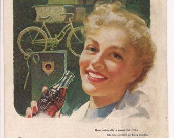 COCA COLA 1953 Advertisement. Vintage COKE Original Color Illustration from National Geographic Magazine