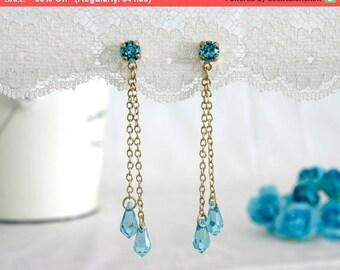 30% SALE Blue bridal earrings, Blue bridal jewelry, Something blue, Something blue wedding, Chandelier bridal earrings, Wedding chandelie...