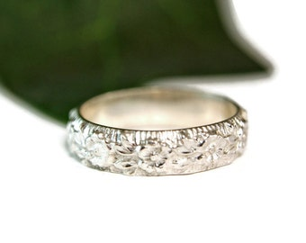 Sterling Silver Floral Band, Wedding Band, Handmade Custom Ring, Stackable Ring, Casual Jewelry
