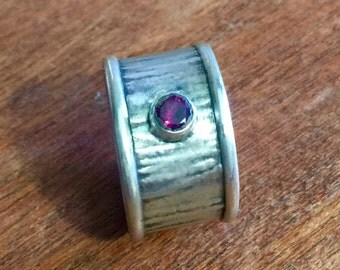Fabricated Hammered Sterling Silver Ring with 6mm Round Rhodolite Garnet Size 12