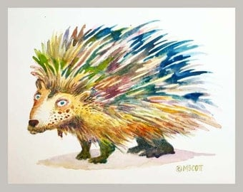 Original Watercolor - 7x10 inches - Pete the Porcupine - Daily painting Number 51
