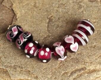 Handmade Glass Bead Set, Amethyst Lampwork Beads