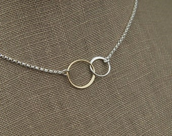 SALE 15% OFF Interlocking rings necklace in sterling silver and bronze, two linked circles, interlocking circles, mixed metals, silver and b
