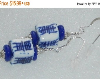 ON SALE NOW 925 Sterling Silver Cobalt Blue & White Chinese Character Beaded Earrings
