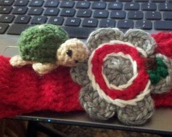 Fall Fashion Skinny Headband, OSU/ Buckeye /Handmade Ohio State Headband with Crocheted Flower / Any Size Headband / Grey Red Earwarmer
