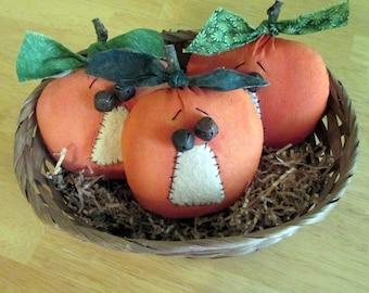 Primitive Pumpkin Ornies, Pumpkin Bowl Fillers, Halloween Decor, Fall Decorations, Jack-O-Lantern ornies, Set of 3