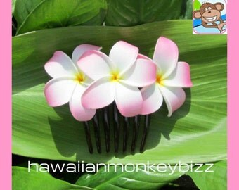Curled-In Plumeria Foam HAIR COMB - Your Choice of 1 . . .