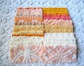 "Peaches, Oranges, Corals and Cream 6"" Square Assortment of Vintage Chenille Bedspread Fabrics (30)"