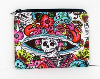 Small Zippered Pouch, Catrina Chiquita, Day of the Dead Skull Bag