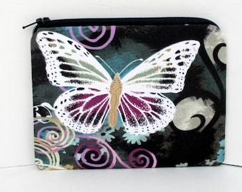Small Zipper Pouch, Butterfly Swirl, Michael Miller Fabric, Coin Purse