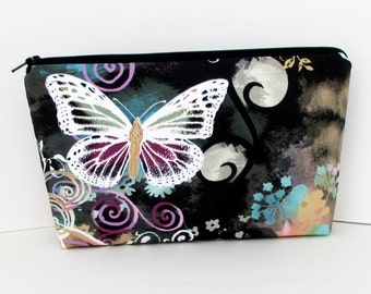 Make Up Bag, Butterfly Swirl in Black, Cosmetic Zipper Pouch