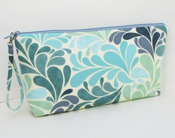 Sea Splash, Large Zipper Pouch, Project Bag for Knitters, Wedge Bag
